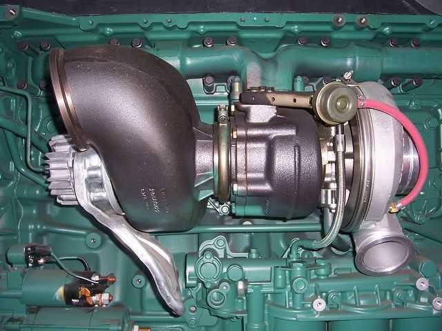 турбина на фоне двигателя